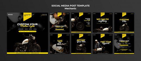 Colección de 9 Post para Facebook / Instagram / Twitter (Imagen Gráfica)
